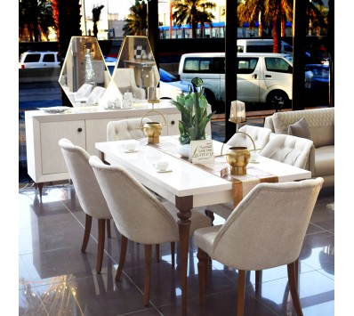 6 chair modern dining room + KRISTAL mirror
