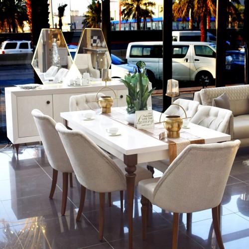 6 chair modern dining room + KRISTAL mirror